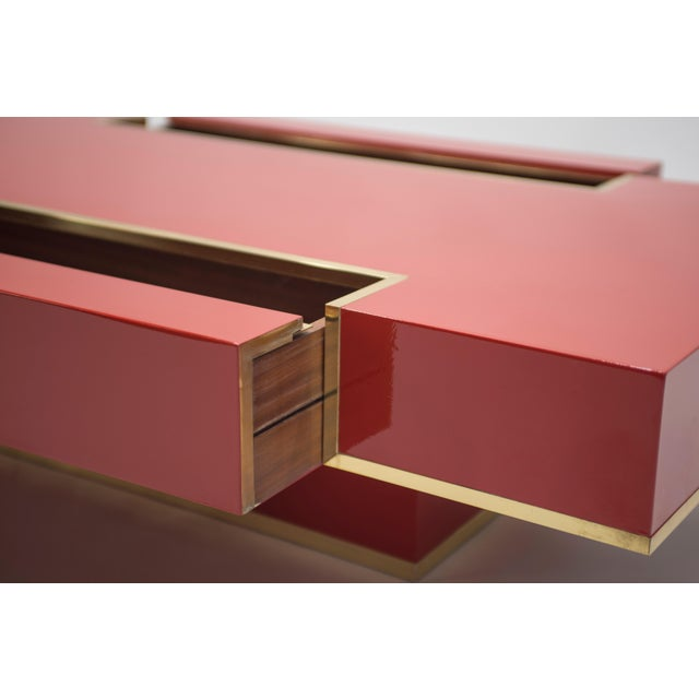 Red Rare j.c. Mahey Red Lacquer and Brass Coffee Table, 1970s For Sale - Image 8 of 13