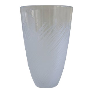 Salviati Etched Art Glass Vase For Sale