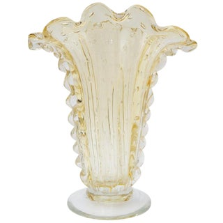 Art Deco Barovier Et Toso Murano Glass Vase Controlled Bubbles Light Yellow 1930s For Sale