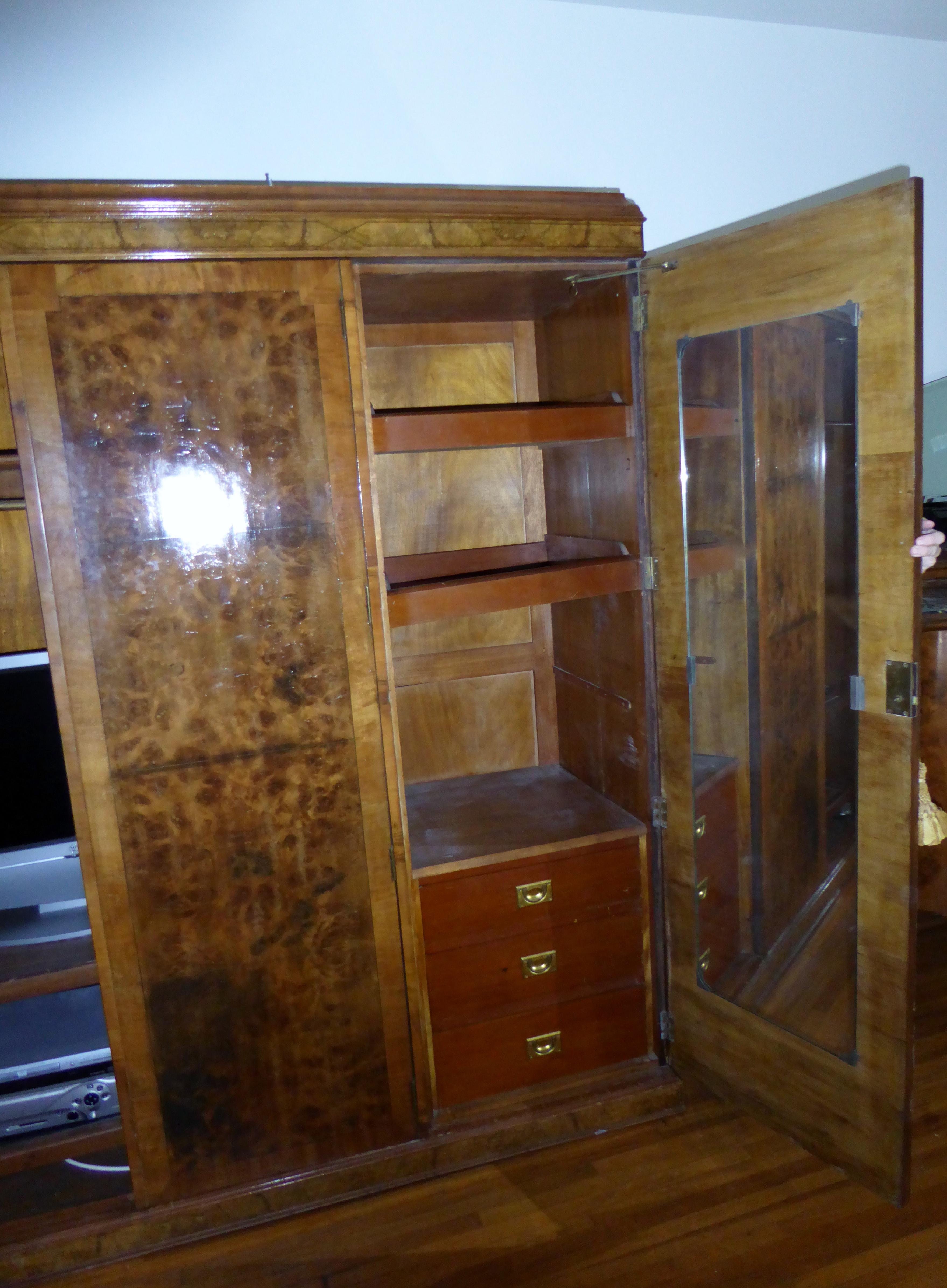 Antique Burl Laminate 3 Door Armoire Circa 1930u0027s   Image 6 ...