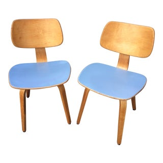 Vintage Mid Century Thonet Molded Plywood Chairs- A Pair For Sale