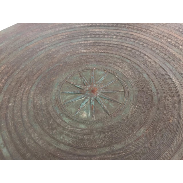 Metal Asian Cast Bronze Rain Drum with Glass Top Coffee Table For Sale - Image 7 of 11