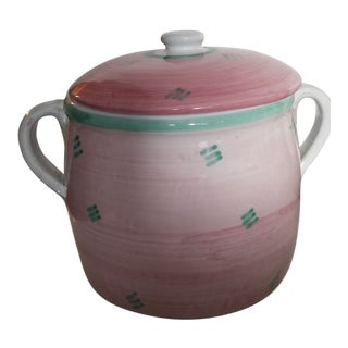 Vintage Italian Caleca Pastel Ironstone Lidded Canister Storage Container or Cookie Jar For Sale