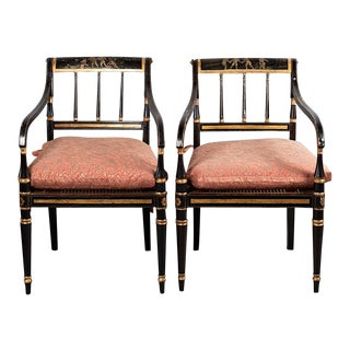 Antique Regency Armchairs in Fortuny For Sale