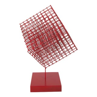 Red Wire Cube Sculpture For Sale