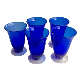 1930s Cobalt Blue Hand Blown Parfait/Water Glasses - Set of 5 For Sale
