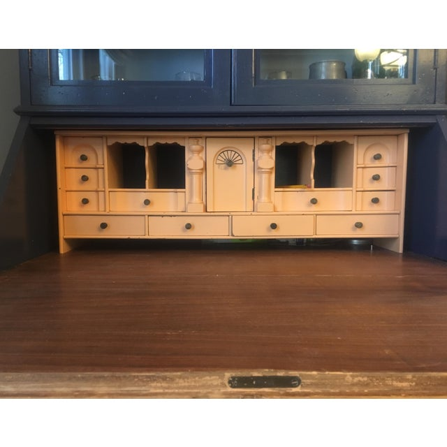 Acrylic Paint 19th Century Chippendale Slant Front Mahogany Maddox Secretary Desk For Sale - Image 7 of 11
