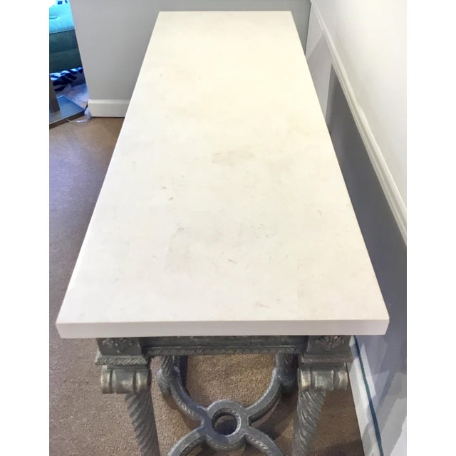 2010s Henredon White Marble French Style Console Table For Sale - Image 5 of 7