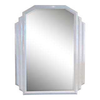 1970s Art Deco Revival Off-White Lacquered Mirror With Beveled Glass For Sale