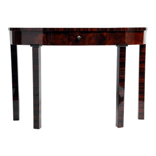 Hungarian Walnut Veneer Console Table With Drawer For Sale