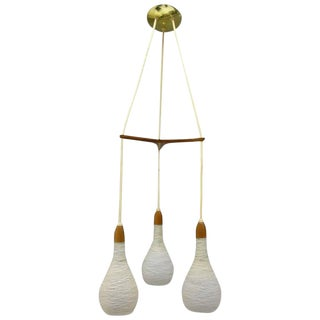 Mid-Century Teak and Glass Pendant Chandelier Attributed to Luxus of Sweden For Sale