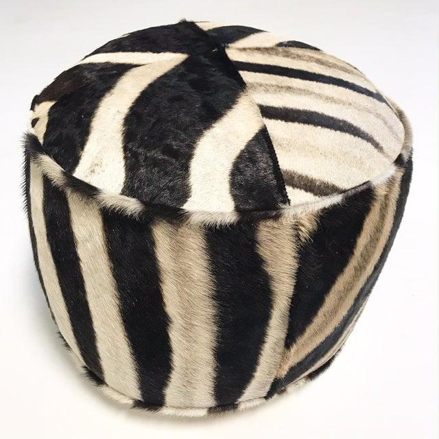2010s Forsyth Zebra Hide Pouf Ottoman For Sale - Image 5 of 9