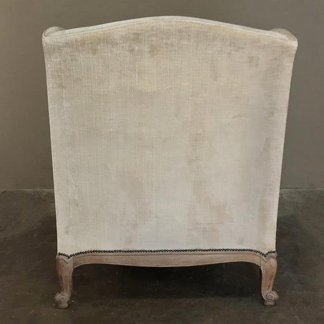Antique French Walnut Louis XV Wingback Armchair For Sale - Image 10 of 13