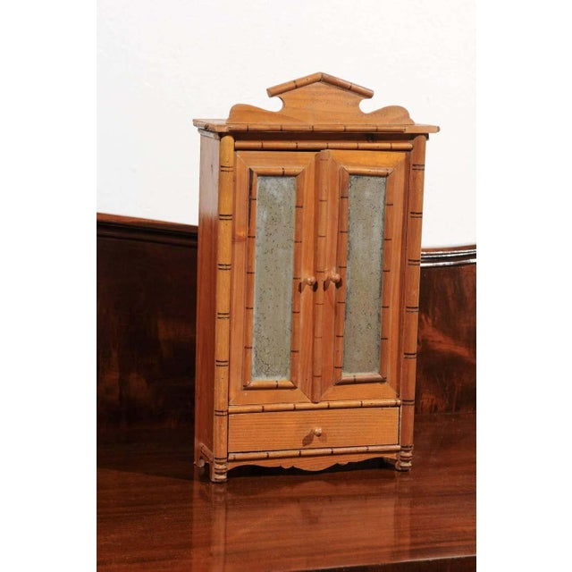 Antique French Miniature Pine Armoire For Sale - Image 4 of 10