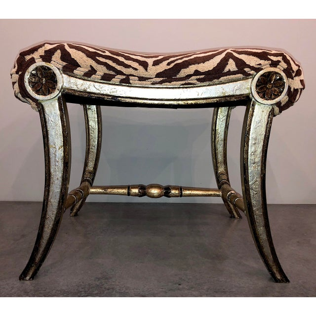 Textile Hollywood Regency Silver Gilt Zebra Benches - a Pair For Sale - Image 7 of 13
