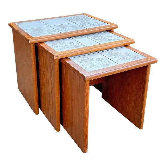 Vintage Danish Modern Teak Tile Top Nesting Tables by Trioh - Set of 3 For Sale
