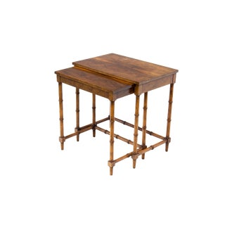 Nesting Tables in Walnut With Faux Bamboo Legs