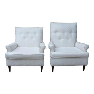 Mid-Century Modern His & Hers Upholstered Arm Chairs - A Pair