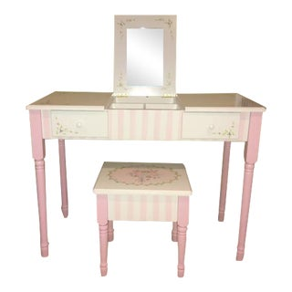 Painted Children's Vanity and Stool