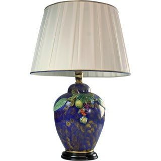 Italian Hand-Painted Majolica Table Lamp For Sale