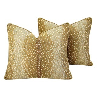 "Antelope Deer Fawn Velvet Feather/Down Pillows 21"" X 18"" - Pair For Sale"