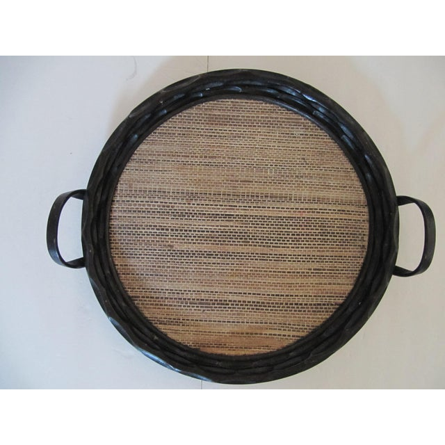 Wood Extra-Large Palecek Carved Wood Tray With Grass Cloth Insert For Sale - Image 7 of 7