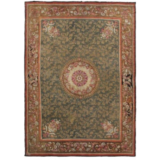 Historic Antique French Charles X Aubusson Rug Green Mid 1800's - 13′1″ × 16′6″ For Sale