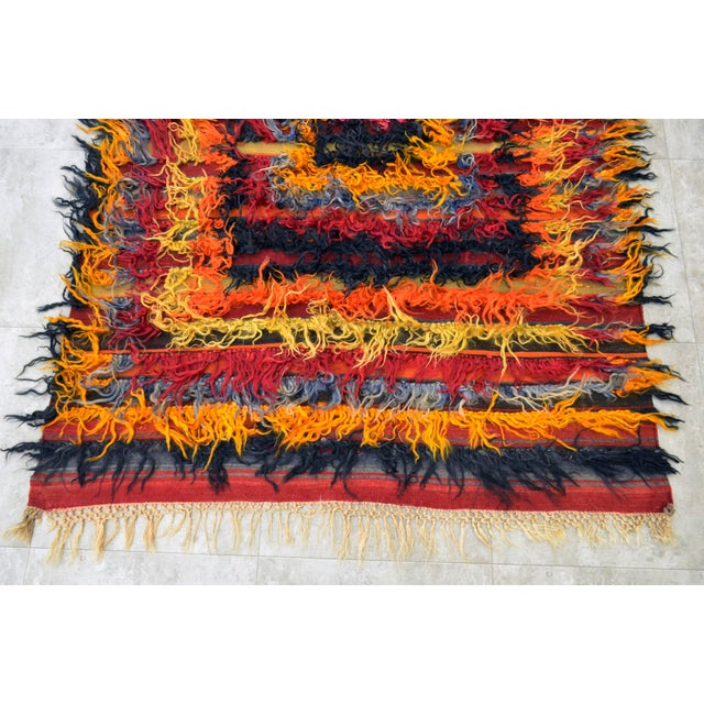 Antique Turkish Oushak Shaggy Mohair Tulu Rug - 4′6″ × 6′3″ - Image 7 of 10