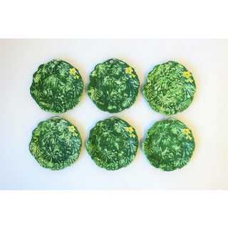 Set of Six Italian Designer Green Matte Pottery Plates With Lotus Design Preview