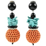 Image of Angela Caputi Coral and Turquoise Dangling Resin Clip on Earrings For Sale