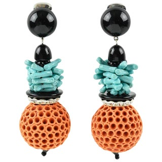 Angela Caputi Coral and Turquoise Dangling Resin Clip on Earrings For Sale