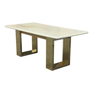 1950s Long French Modern Resin Top Dining Table For Sale