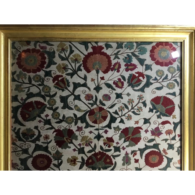 Cotton Hand Embroidery Silk Suzani Textile, Framed For Sale - Image 7 of 13