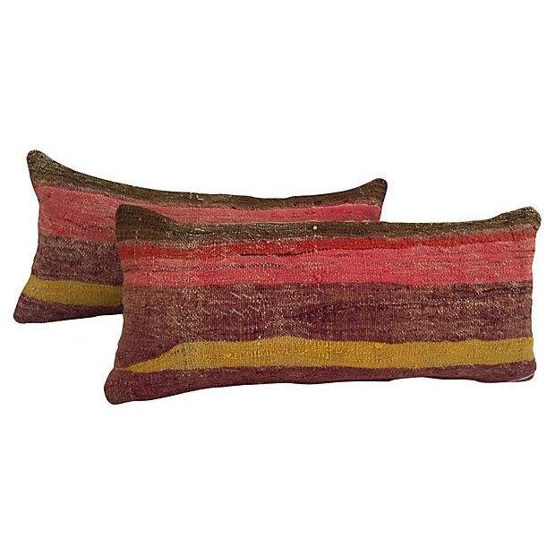 Striped Camel Sack Lumbar Pillows - A Pair - Image 1 of 5