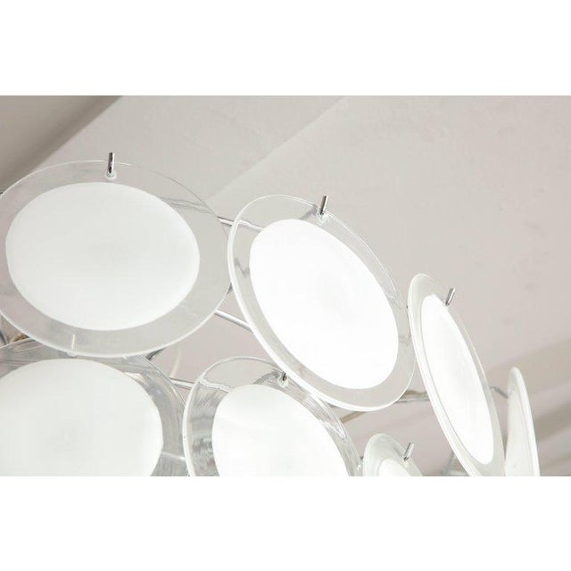 Murano White Glass Disc Chandelier For Sale - Image 4 of 7