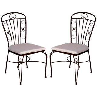 Brown Wrought Iron Garden Chairs - A Pair