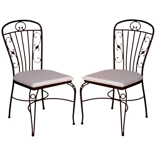 Image of Brown Wrought Iron Garden Chairs - A Pair