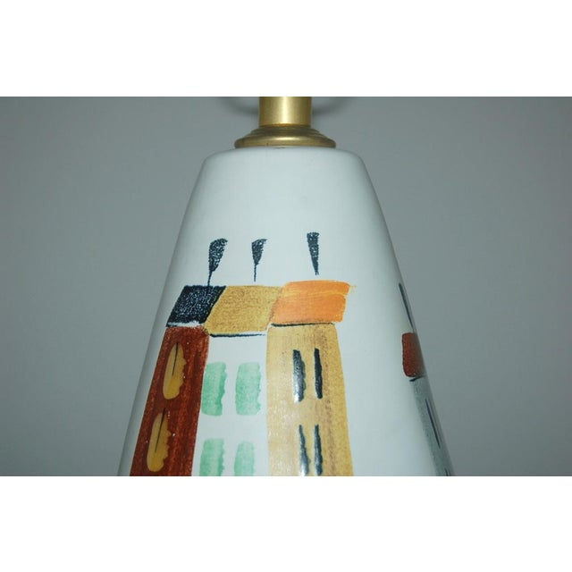 1960s Vintage Bitossi Italian Ceramic Cityscape Table Lamps For Sale - Image 5 of 10