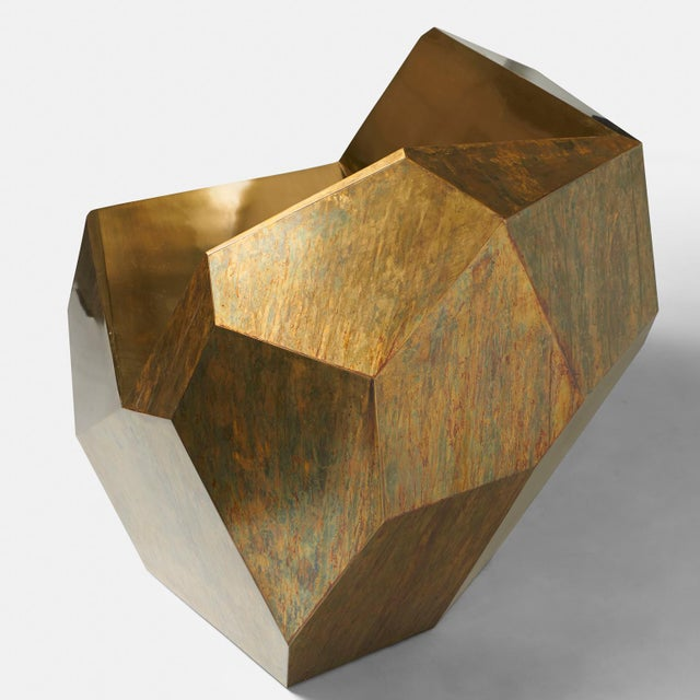 "2010s ""Brass Popova Chair,"" Faceted Brass, Sylvan San Francisco For Sale - Image 5 of 6"
