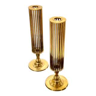 Mid-Century Caged Brass Cylinder Candlesticks For Sale