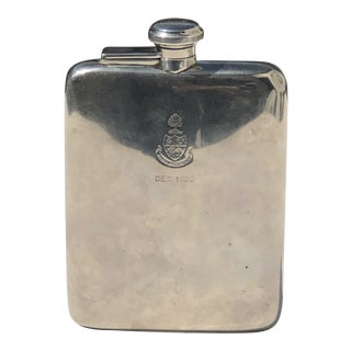 Sterling Silver Flask Dated December 1922 For Sale