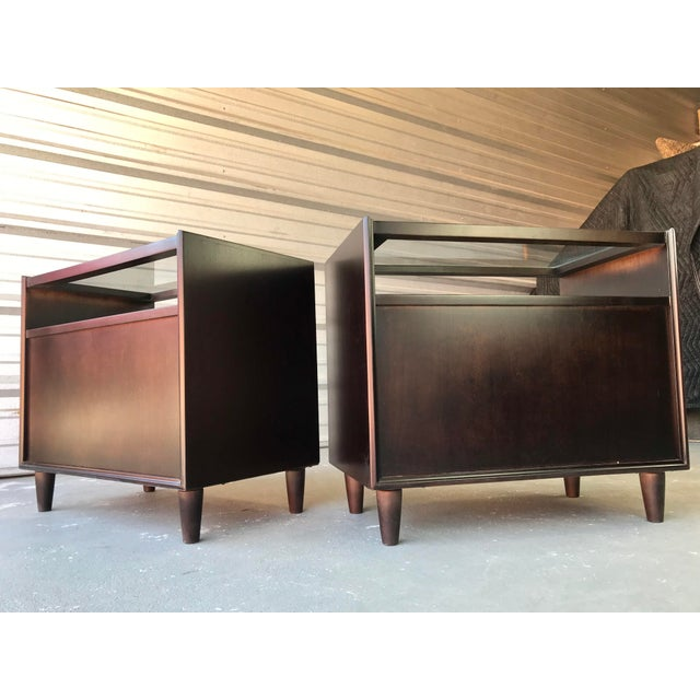 Restored Mid Century Modern Dark Walnut & Glass Top End Tables For Sale In Tampa - Image 6 of 9