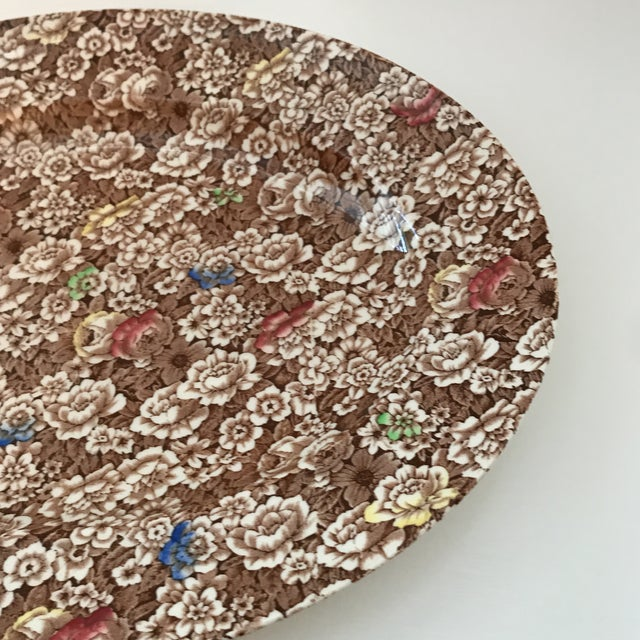 """English 1940s Vintage Empire England Brown Chintz """"Rosalie"""" Platter For Sale - Image 3 of 8"""