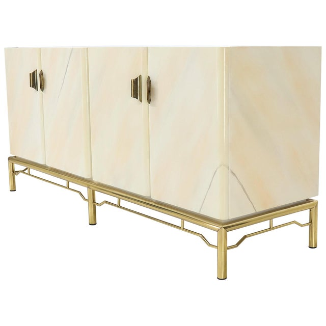 Mid-Century Modern White Lacquer Faux Finish Door 4 Doors Credenza on Brass Base For Sale - Image 11 of 11