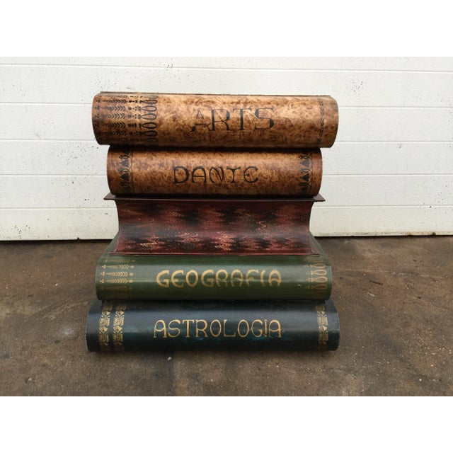 Italian Metal Tole Painted Book Stack Table For Sale - Image 4 of 9
