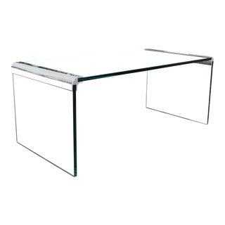 "Vintage Pace ""Waterfall"" Glass and Chrome Coffee Table For Sale"