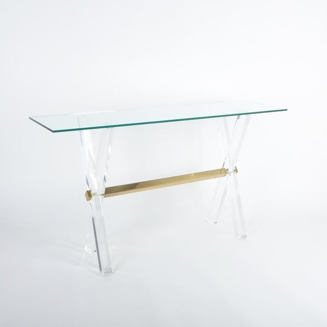 Brass Lucite and Brass X Frame Console Table, Circa 1970 For Sale - Image 7 of 13