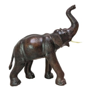 Large Leather Elephant in the Style of Dimitri Omersa For Sale