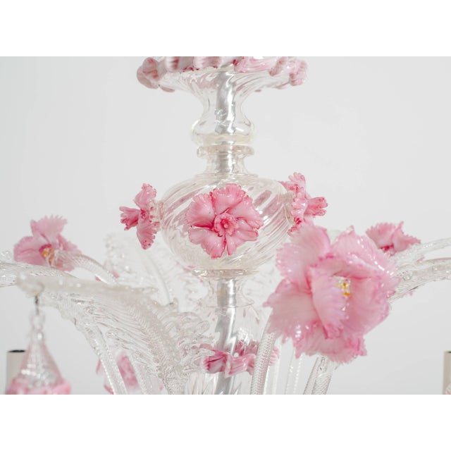 1950s Venetian Pink Six-Arm Chandelier For Sale - Image 4 of 10