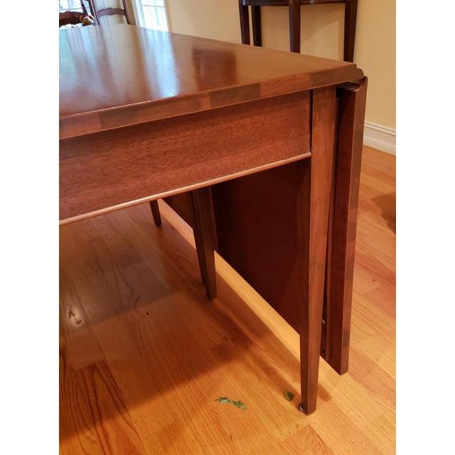 Vintage Mid-Century Modern Cherry Drop Leaf Pembroke Dining Table For Sale - Image 4 of 7